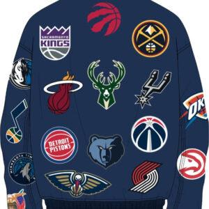 Navy NBA Teams Collage Jeff Hamilton Wool Jacket