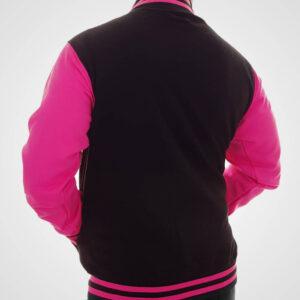 Neon Pink And Black Baseball Varsity Jacket