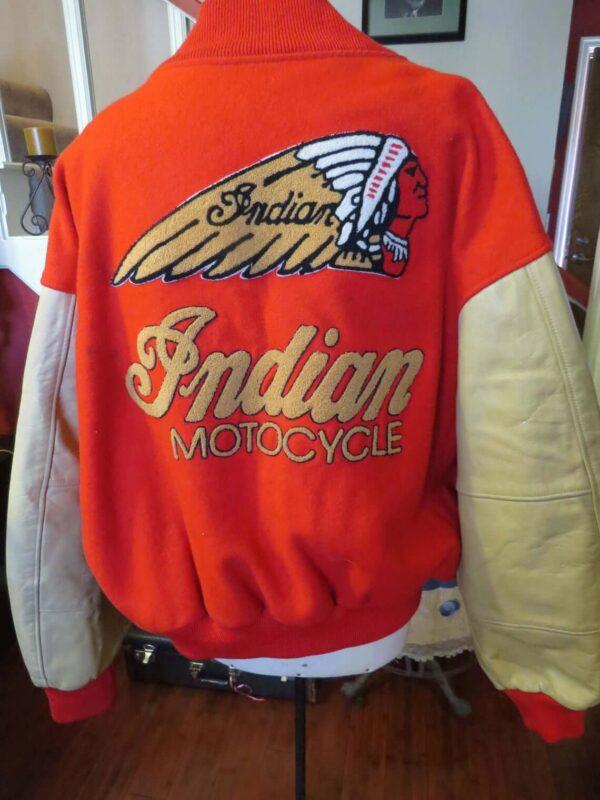 Orange Indian Motorcycle Racing Varsity Jacket
