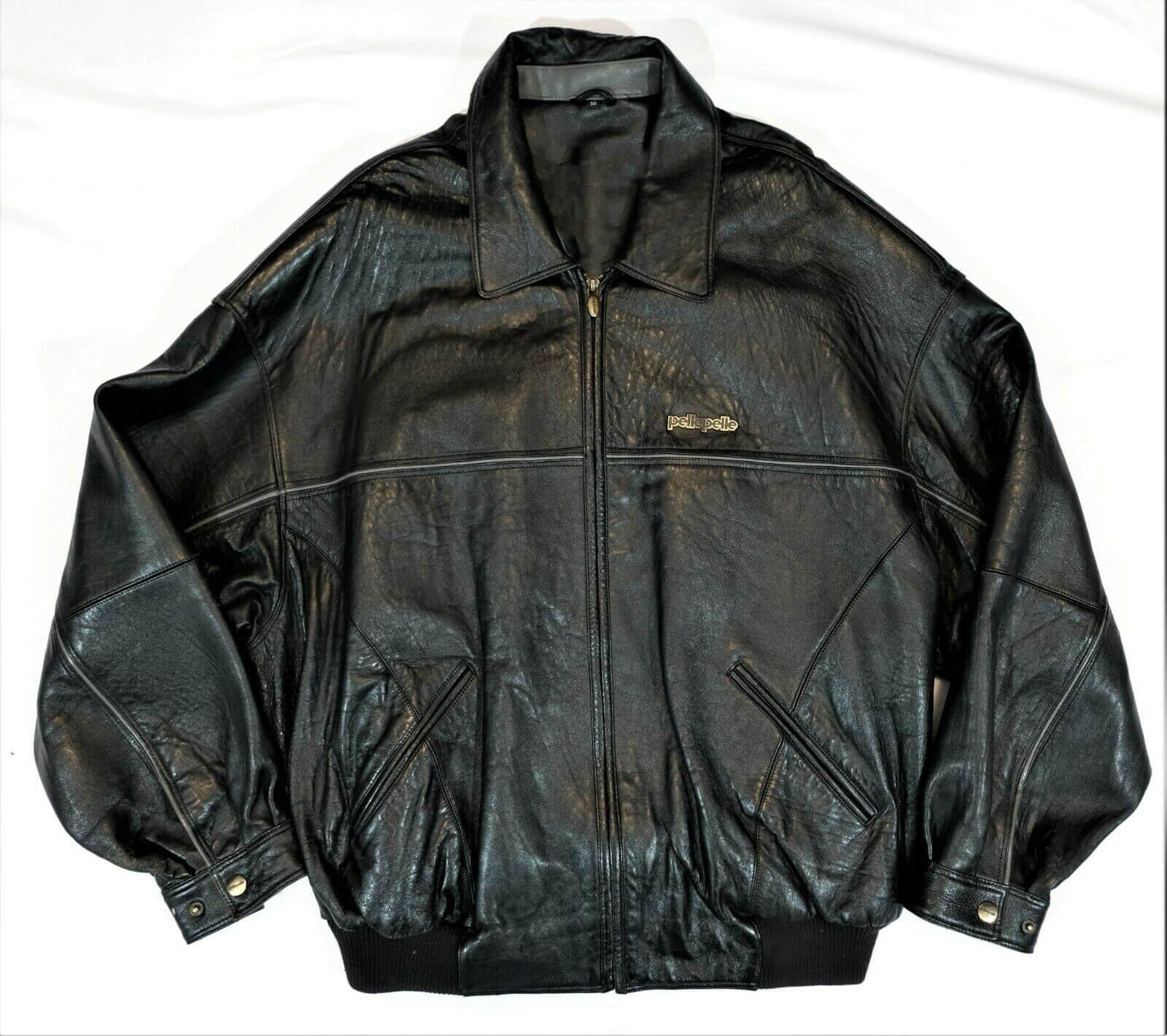 Pelle Pelle Black Vintage Leather Bomber Jacket
