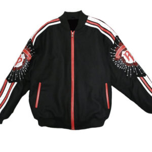 Pelle Pelle White and Red Stripe Wool Jacket