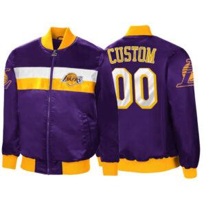 Purple Custom 00 Satin Los Angeles Lakers Jacket