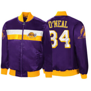Purple Shaquille O'Neal Satin Los Angeles Lakers Jacket