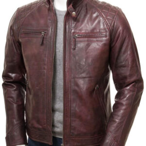 Quilted Cafe Racer Leather Jacket