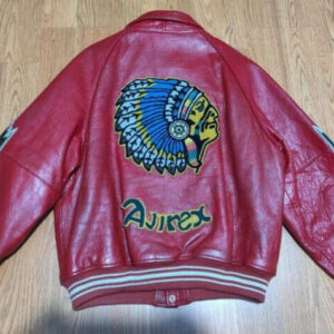 Red Avirex Indian Motorcycle Racing Leather Jacket