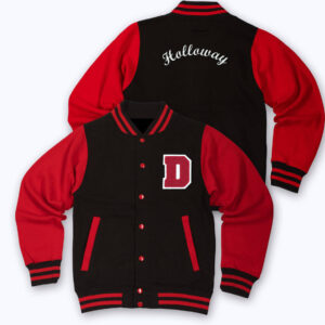 Red Black D Letterman Varsity Jacket