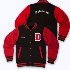 Red Black Holloway Letterman Varsity Jacket