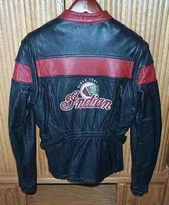 Red Black Indian Motorcycle Racing Leather Jacket