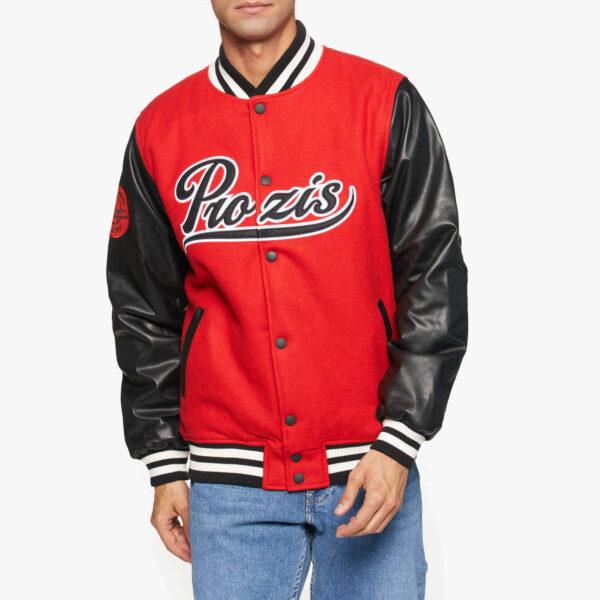 Red Black Prozis Baseball Varsity Jacket