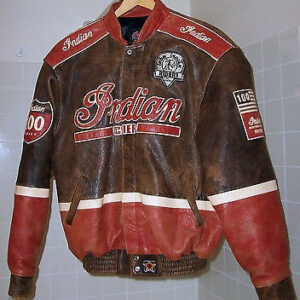vRed Brown Indian Motorcycle Racing Leather Jacket