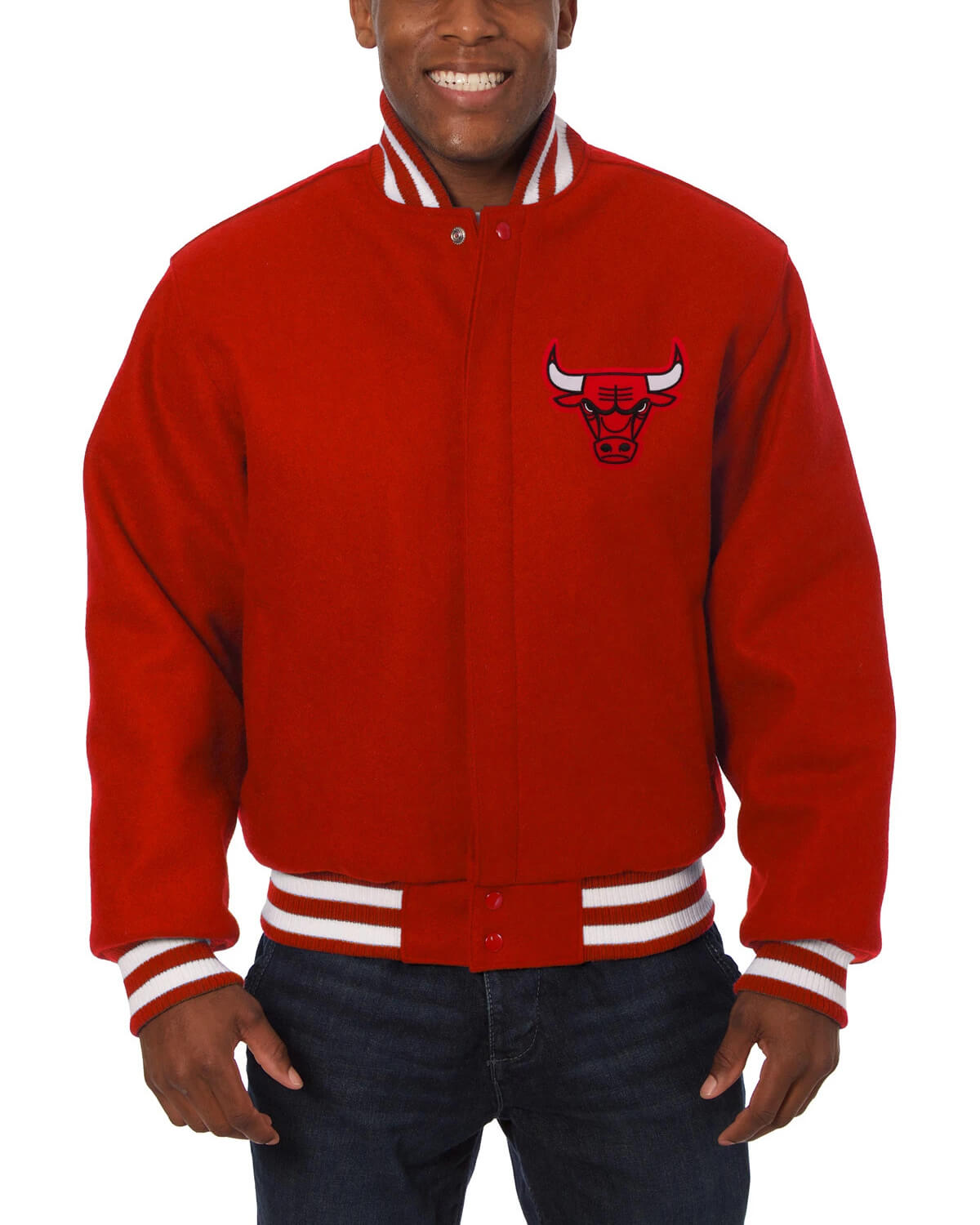 Red Chicago Bulls Embroidered Wool Jacket