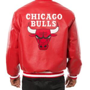 Red Chicago Bulls Jeff Hamilton Leather Jacket