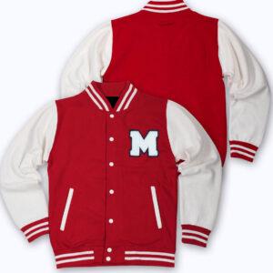 Red M Letterman Baseball Varsity Jacket
