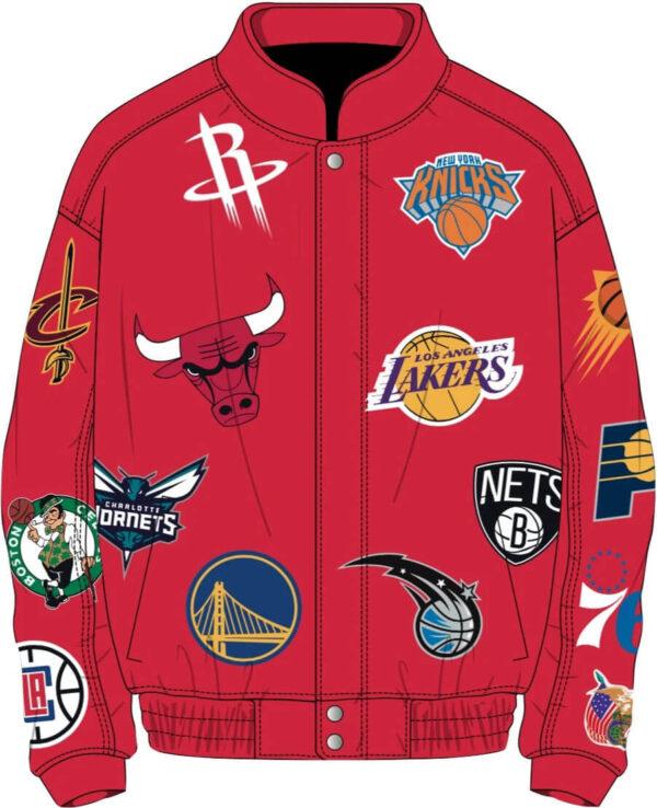 Red NBA Teams Collage Jeff Hamilton Leather Jacket