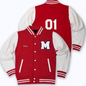 Red White 01 Letterman Baseball Varsity Jacket