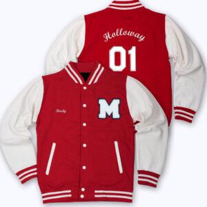 Red White M Letterman Baseball Varsity Jacket