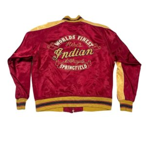 Red Yellow Indian Motorcycle Racing Satin Jacket