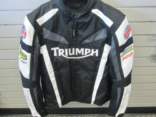 Triumph Black And White Motorcycle Racing Jacket