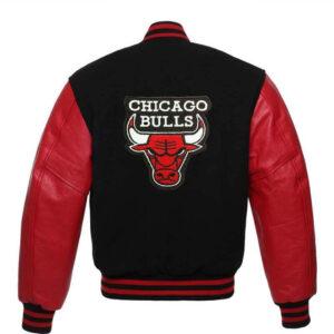 Vintage Black Chicago Bulls Varsity Baseball Jacket