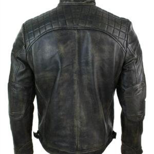 Vintage Cafe Racer Distressed Black Leather Jacket