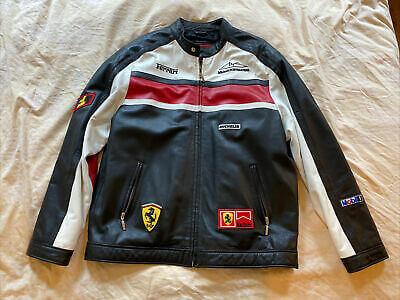 Vintage Ferrari Michael Schumacher Black Leather Jacket