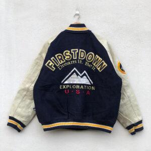 Vintage First Down Blue White USA Varsity Jacket