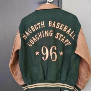 Vintage Macbeth Green Varsity Baseball Jacket