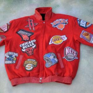 Vintage Red NBA Teams Jeff Hamilton Leather Jacket