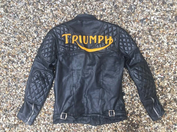 Vintage Triumph Motorcycle Black Leather Jacket