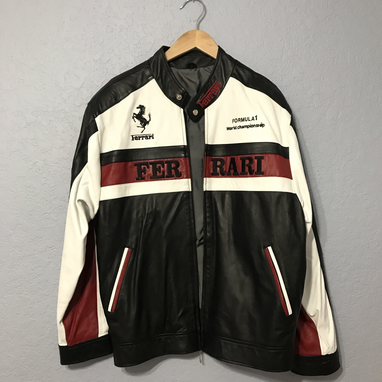 White And Black Ferrari Motorcycle Leather Jacket