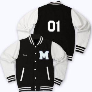 White Black 01 Letterman Varsity Jacket
