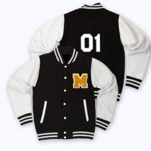 White Black 01 M Letterman Baseball Varsity Jacket