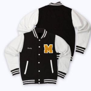 White Black Brody M Letterman Baseball Varsity Jacket