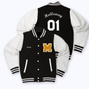 White Black Gold M Letterman Baseball Varsity Jacket