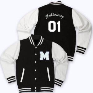 White Black Holloway 01 Letterman Varsity Jacket