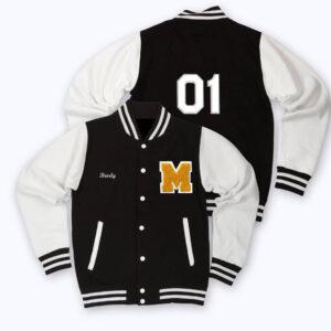 White Black Holloway Letterman Baseball Varsity Jacket