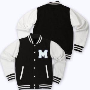 White Black M Letterman Baseball Varsity Jacket