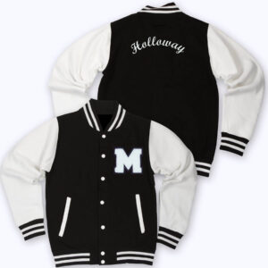 White Black M Letterman Varsity Jacket