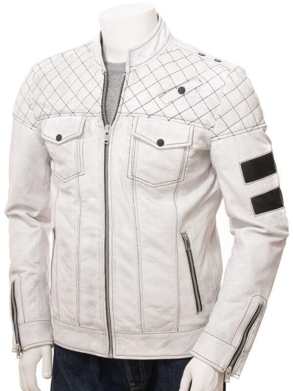 White Cafe Racer Leather Jacket