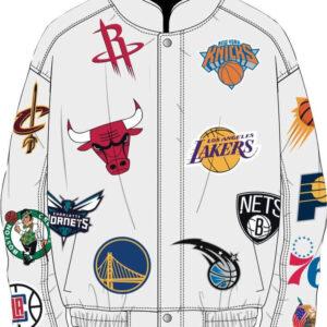 White NBA Teams Collage Jeff Hamilton Leather Jacket