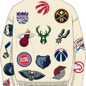 White NBA Teams Collage Jeff Hamilton Wool Jacket
