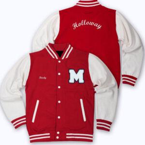 White Red Holloway Letterman Baseball Varsity Jacket