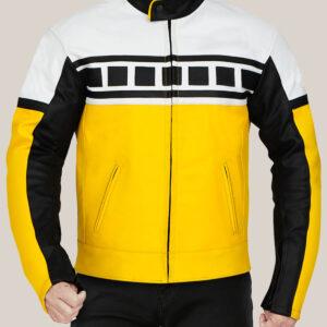 Yellow Black White Motorcycle Leather Jacket