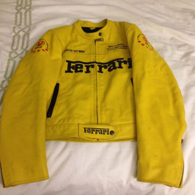 Yellow Michael Schuhmacher Ferrari Motorcycle Jacket